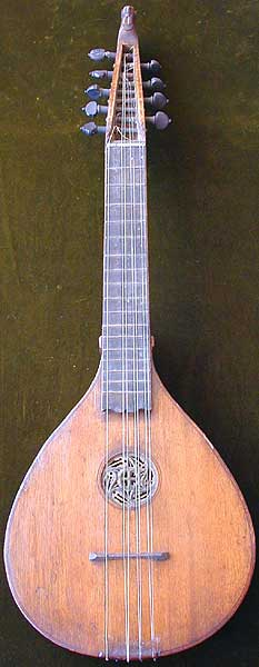 Early Musical Instruments, antique South German Hals Zither or Neck Cittern dated 1663