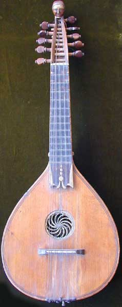 Early Musical Instruments, antique Halszither, Neck Cittern by Zaugg