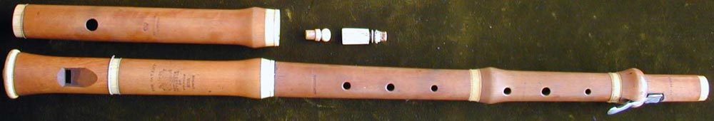Early Musical Instruments, antique ivory mounted boxwood Flageolet and Flute Set by Bainbridge