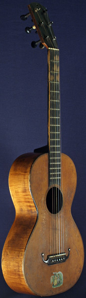 Early Musical Instruments, antique Romantic Guitar by Alois Suter dated 1869